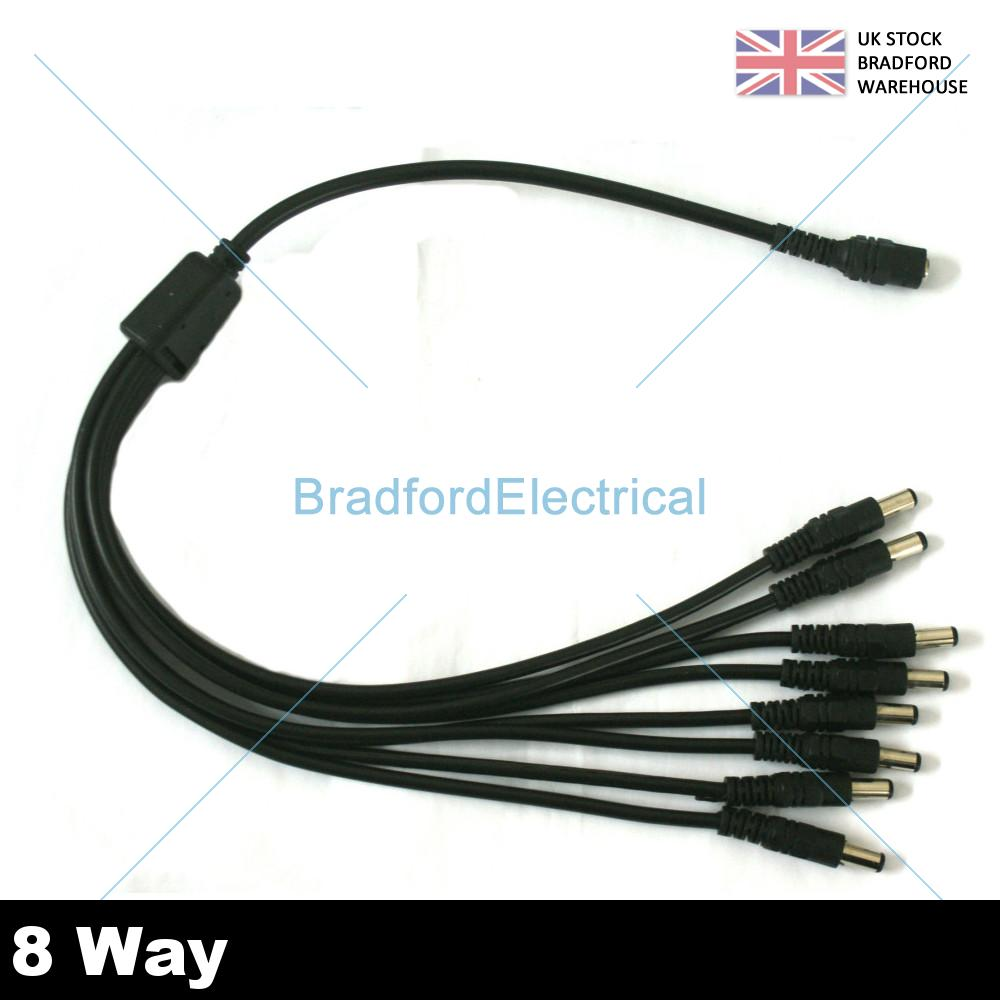 2 4 8 Way Cctv 12v Dc Psu Power Supply Splitter Adapter Cable Wiring Supplies Uk Amp
