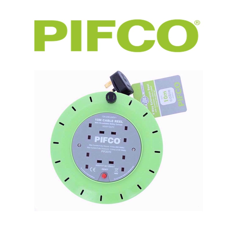 4WAY 10M Cable De Extensión Carrete de toma de corriente eléctrica de alta resistencia